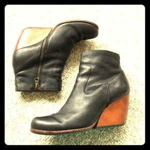 Kork-ease black leather ankle boots